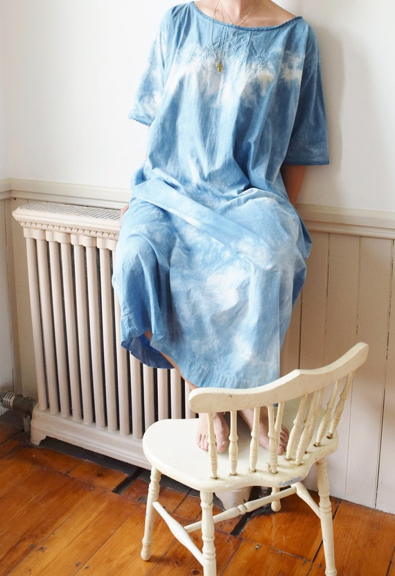 Antique Indigo Dyed Cloud Dress | 1900s Hand Dyed