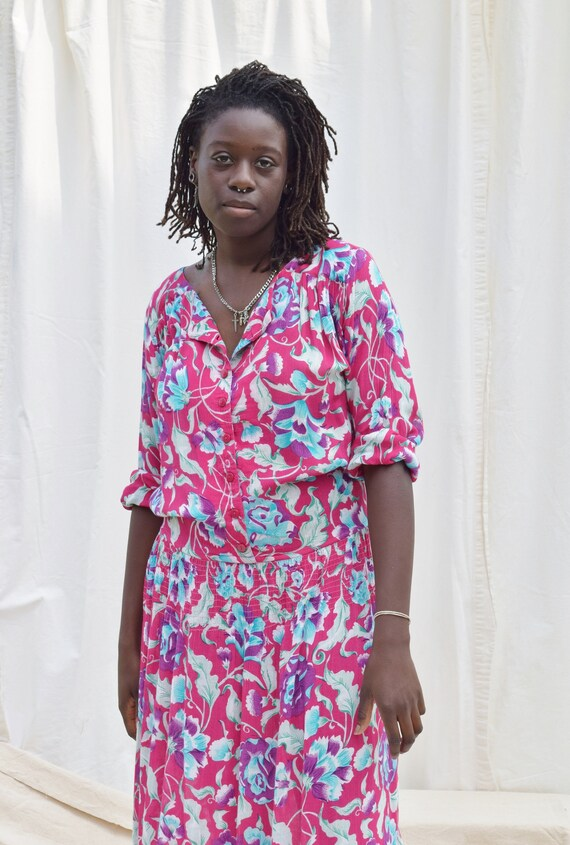 Vintage Adini Magenta Floral Dress   1980s Rayon … - image 7