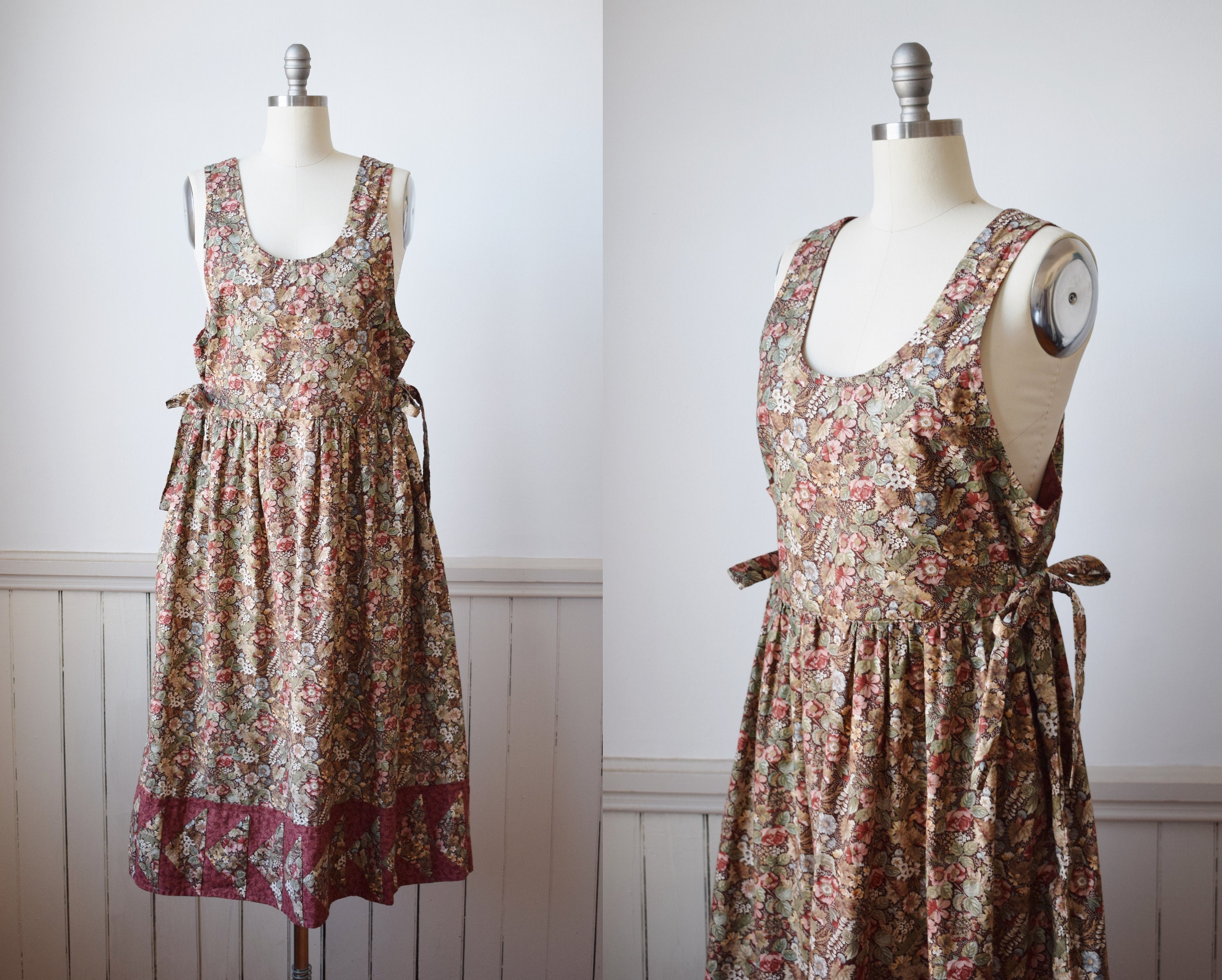 80s Dresses | Casual to Party Dresses Vintage Pinafore Dress With Quilted Hem  Os 1980S Floral Print Apron Tie Sides $25.00 AT vintagedancer.com
