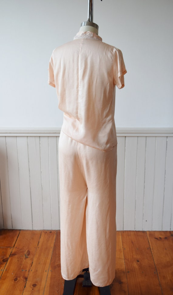 1940s Silk Pajama Set | Top + Wide Leg Pants | Vi… - image 6