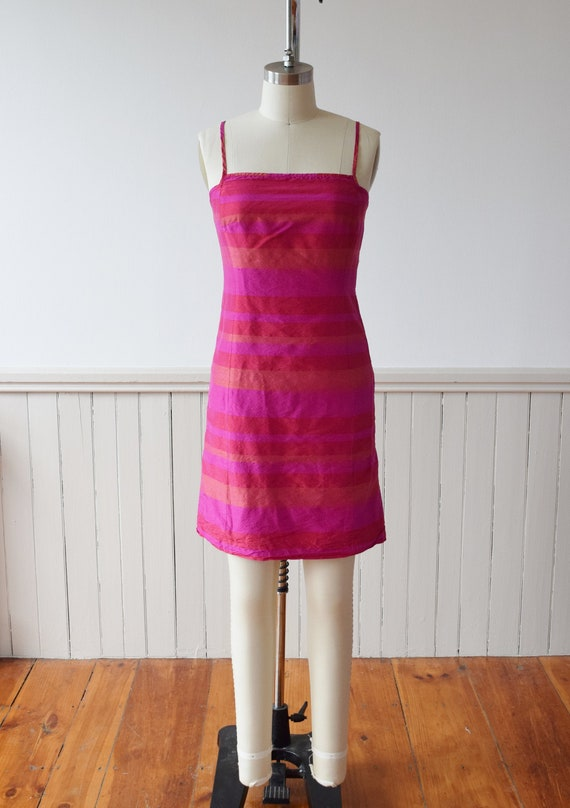 1990s Madras Silk Sheath Mini Dress | S - image 1