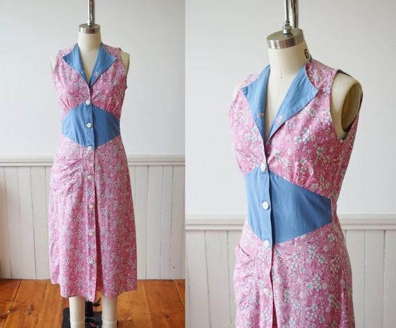1930s Feedsack Chore Dress | 1930s Cotton Day Dres