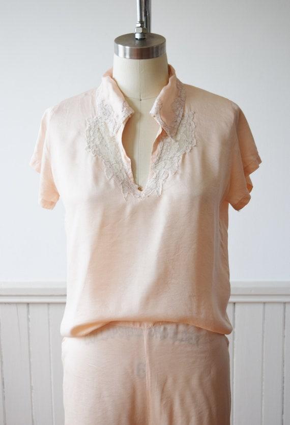 1940s Silk Pajama Set | Top + Wide Leg Pants | Vi… - image 3