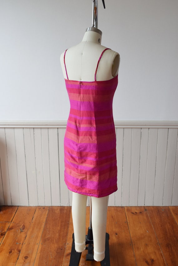 1990s Madras Silk Sheath Mini Dress | S - image 5