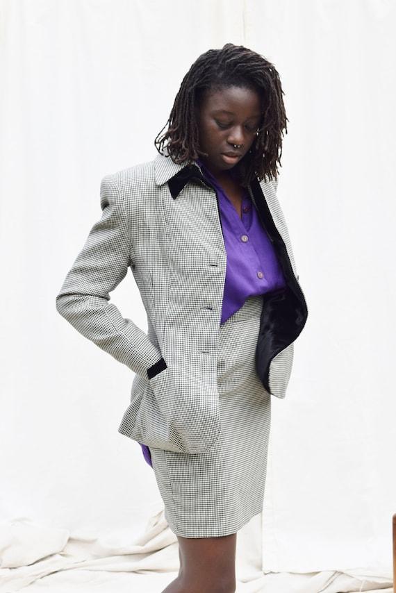 Vintage Norma Kamali Houndstooth Skirt Suit | 198… - image 4