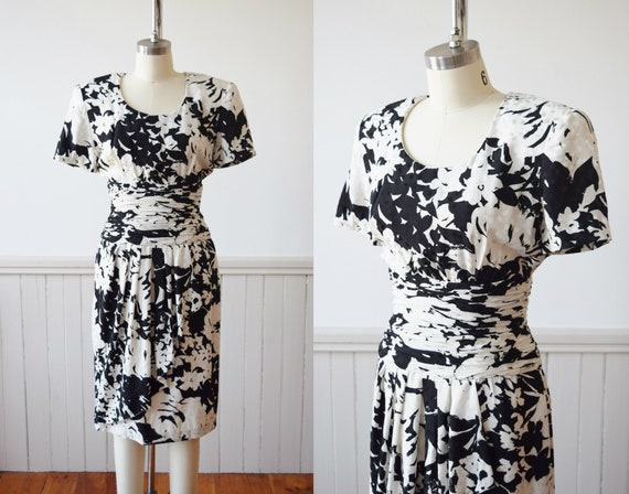 Black and White Silk Pop Art Dress | 1980s Silk Fl