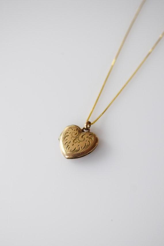 Antique Gold Fill Heart Locket | Scrolled Engravin