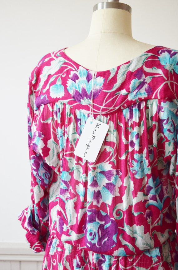 Vintage Adini Magenta Floral Dress   1980s Rayon … - image 6