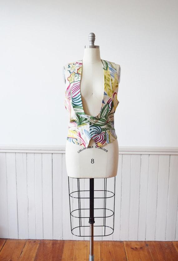 1990s Tropical Print Silk Waistcoat / Vest by Anne