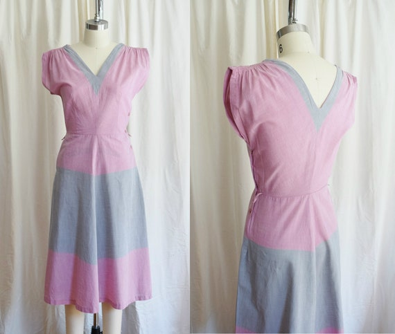 1940s/1950s Color Block Day Dress | Approx. S | Pi