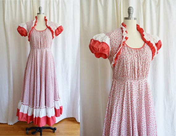 1940s Floral Prairie Style Dress   Vintage Puff Sl