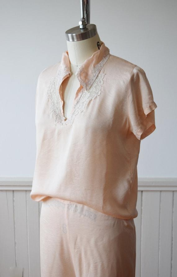 1940s Silk Pajama Set | Top + Wide Leg Pants | Vi… - image 10