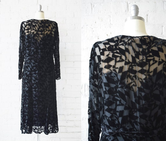 Size Art Velvet Deco Silk Devoré Medium Vintage Burnout Black 1920s Dress Dress vZdxq0UF