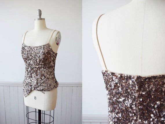 Caché Pink Champagne Sequined Tank | 1990s Vintage