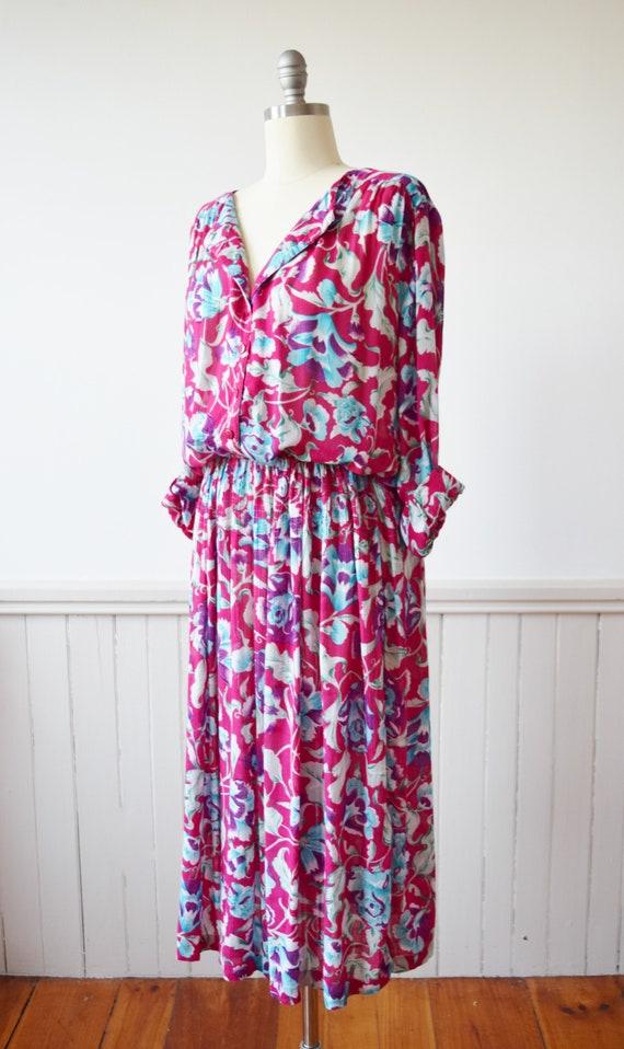 Vintage Adini Magenta Floral Dress   1980s Rayon … - image 3