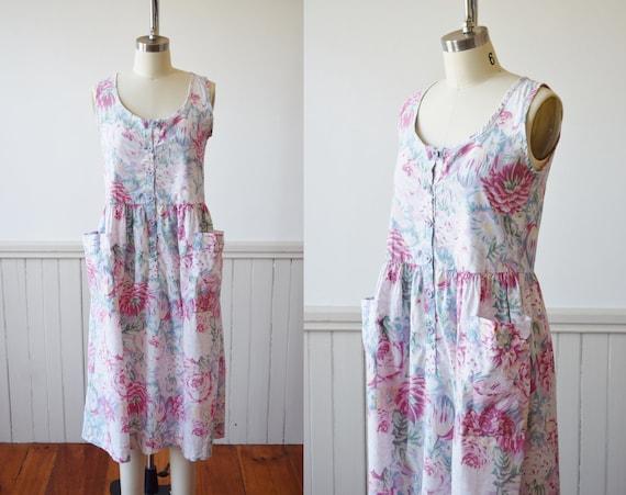 Vintage Laura Ashley Pocket Floral Dress | 1980s L