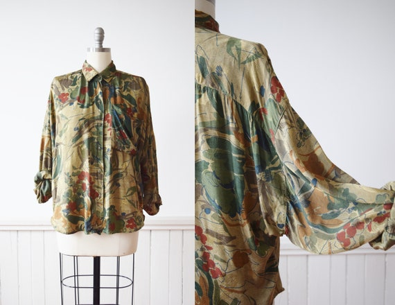 1980s Metallic Abstract Floral Top | Vintage 1980s