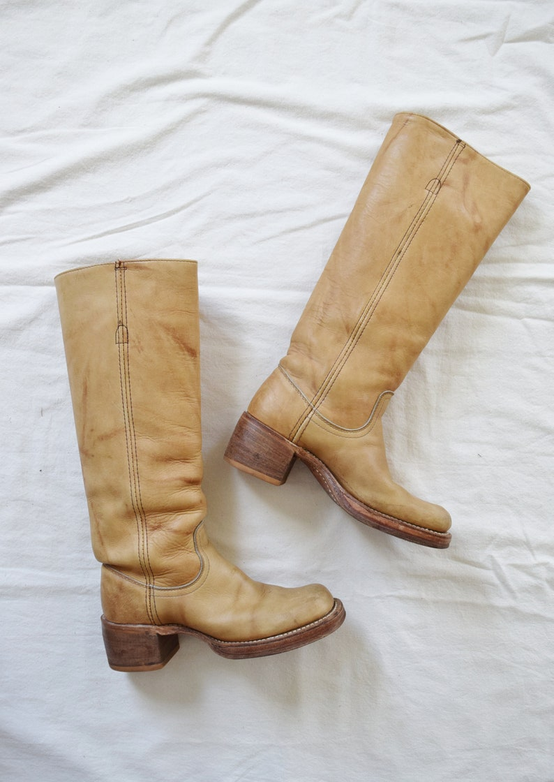 70s Frye Campus Boots | Vintage Frye Boots | Banana Tan Frye Boots |  Women's US Size 5