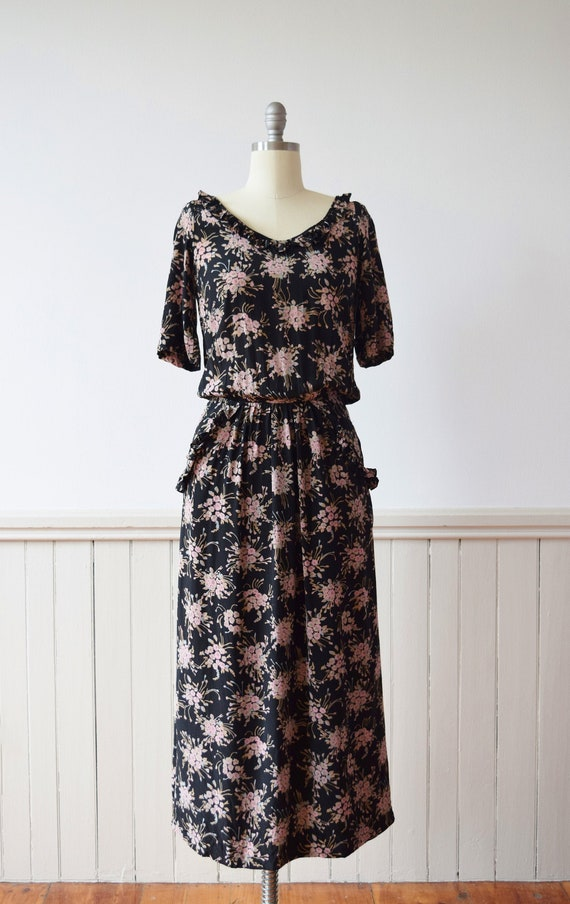 1970s/1980s Gina Fratini Dark Floral Silk Dress |