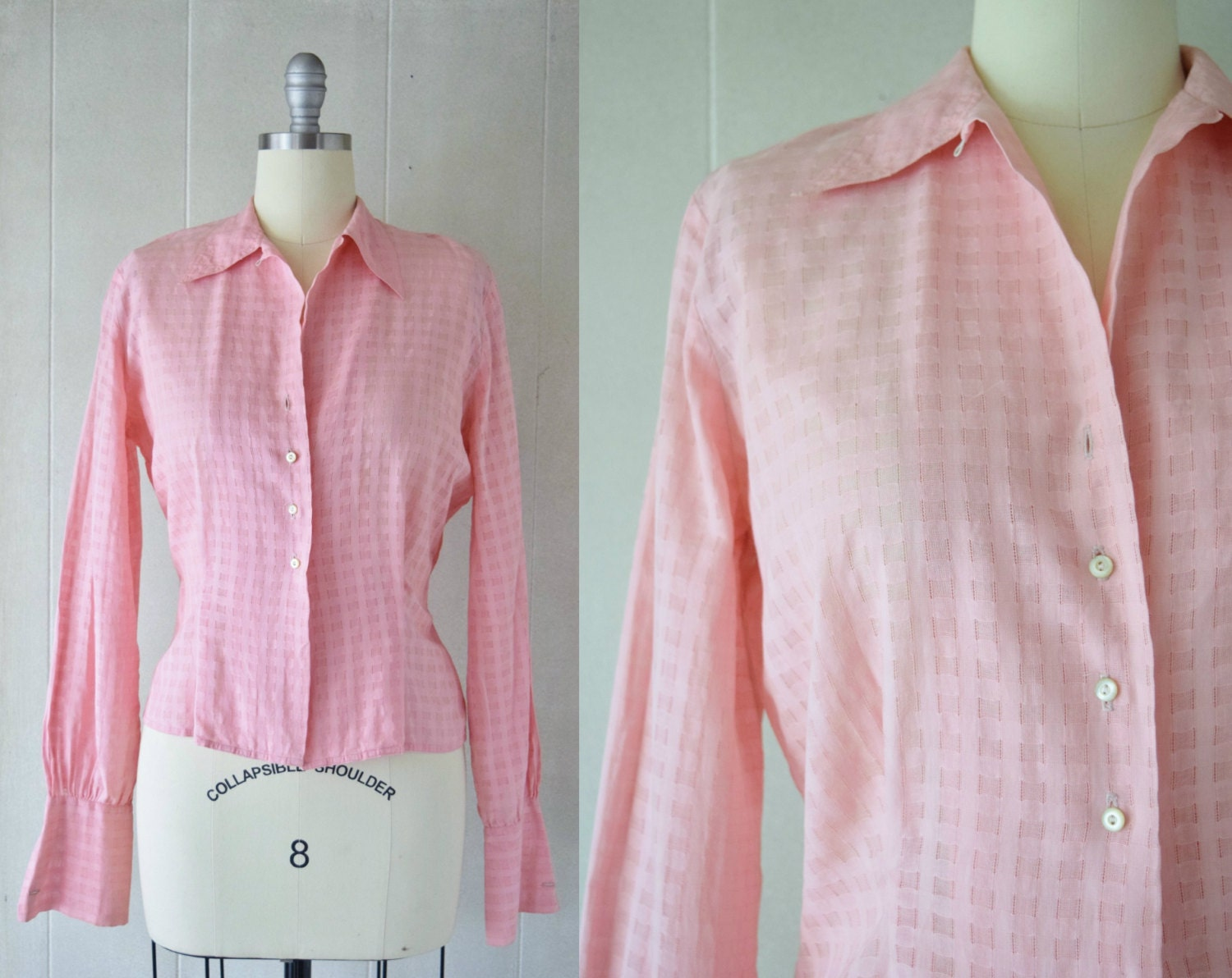 1950s Pink Checkered Weave Blouse Button Front Cotton Etsy