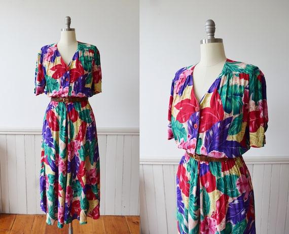 Vintage Tropical Rayon Day Dress | 1990s | M
