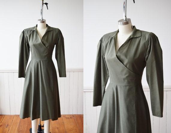 Norma Kamali Olive Green Wrap Dress | Vintage 1980