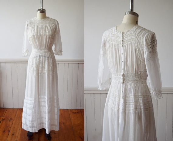 Edwardian Cotton and Lace Gown   1910s Antique Law