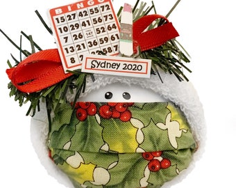 Bingo Christmas Ornaments Card/Dauber Townsend Custom Gifts Mask Option CA65