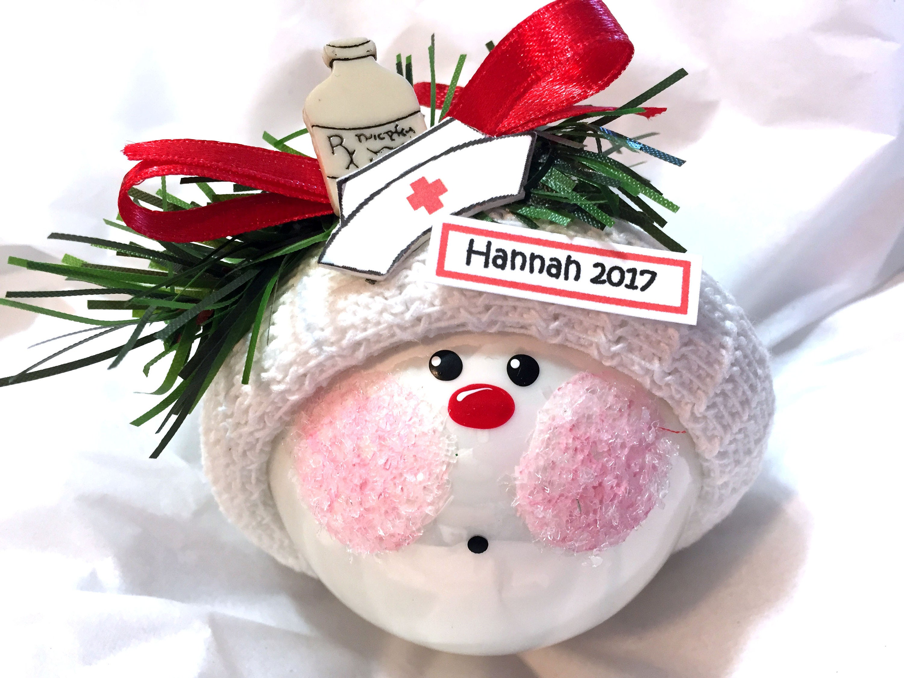 Nurse Gifts Ornaments Christmas IVORY Medicine Bottle Hat
