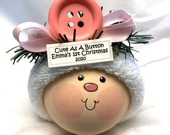 Baby First 1st Christmas Ornaments Cute As A Button Pink Townsend Custom Gifts Mask Option BABY FACE W205