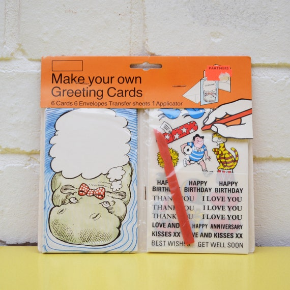 Vintage greetings card kit make your own greetings cards kit etsy image 0 m4hsunfo