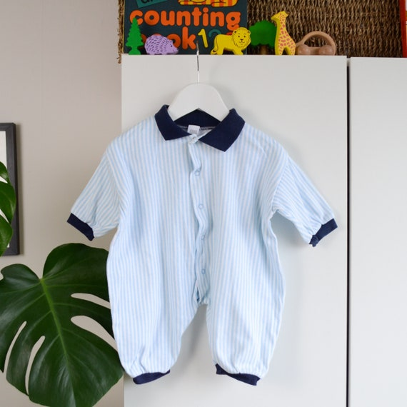 c5ef657ae Vintage Baby Striped Romper Age 0-3 Months Blue and White