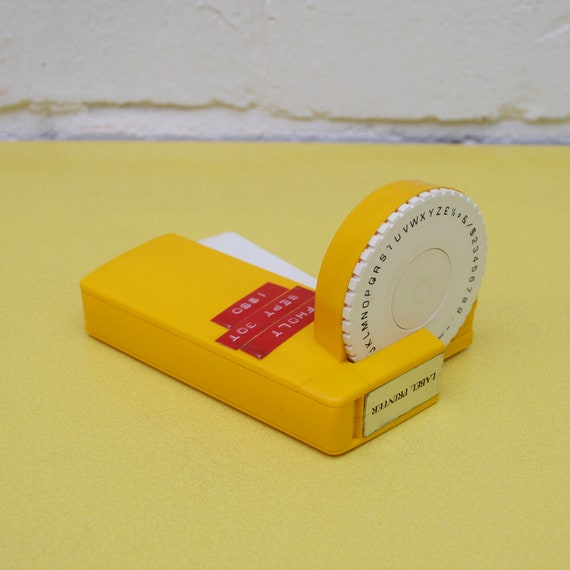 vintage label maker yellow label machine 1980 s label etsy