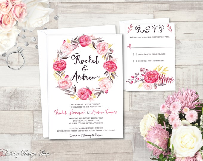 Featured listing image: Wedding Invitation - Watercolor Style Peony Floral Wreath - Invitation and RSVP Card with Envelopes