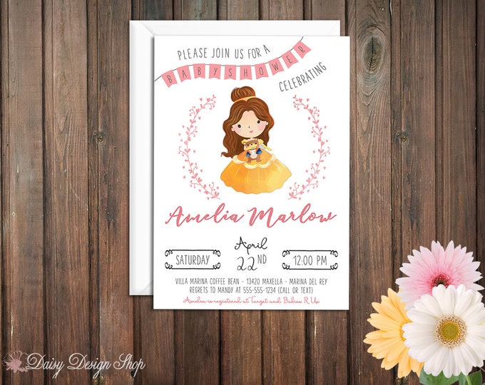 Featured listing image: Baby Shower Invitation - Princess Belle and Laurel in Watercolor Style - Beauty and the Beast