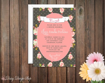 Baby Shower Invitation - Garden Roses and Polka Dots - Country Cottage Shabby Chic