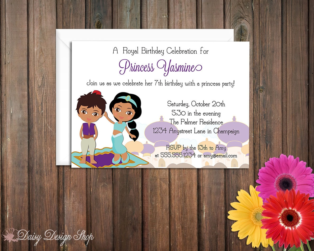 Birthday Party Invitations Aladdin Inspired Arabian Nights