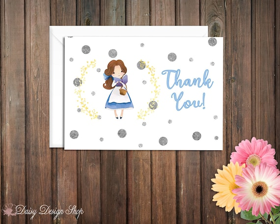 Set of 10 with Envelopes Thank You Cards Shipping Princess Cinderella and Laurel in Watercolor Style FREE U.S