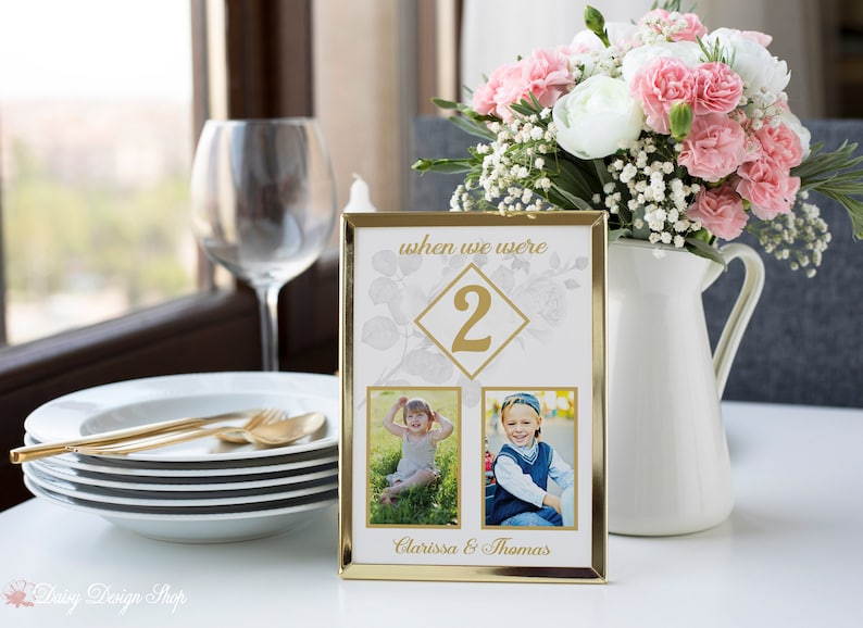 Table Number Card with Rose Sketch and Two Photos - 5x7 or 4x6 Card