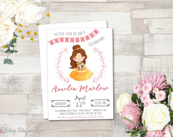 Featured listing image: Baby Shower Invitation Printable - Princess Belle and Laurel - Beauty and the Beast - JPEG/PDF files to Print Yourself