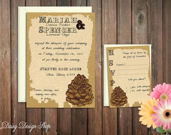 Wedding Invitation - Pinecone Rustic Lodge - Invitation and RSVP Card with Envelopes