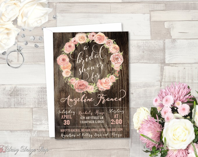 Featured listing image: Bridal Shower Invitation Printable - Wreath of Roses and Wood Plank Background - JPEG/PDF files to Print Yourself