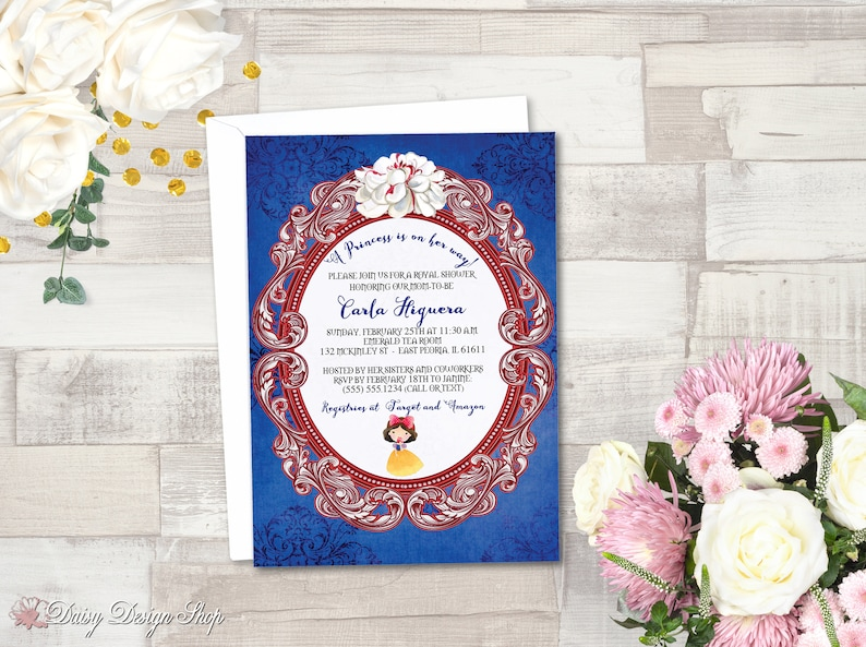 Baby Shower Invitation Snow White Princess Damask And Frame