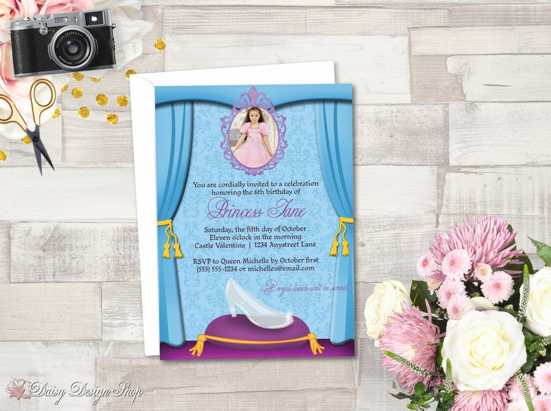 Shipping 10 Birthday Party Photo Invitations Cinderella/'s Glass Slipper Printed OR Digital with FREE U.S