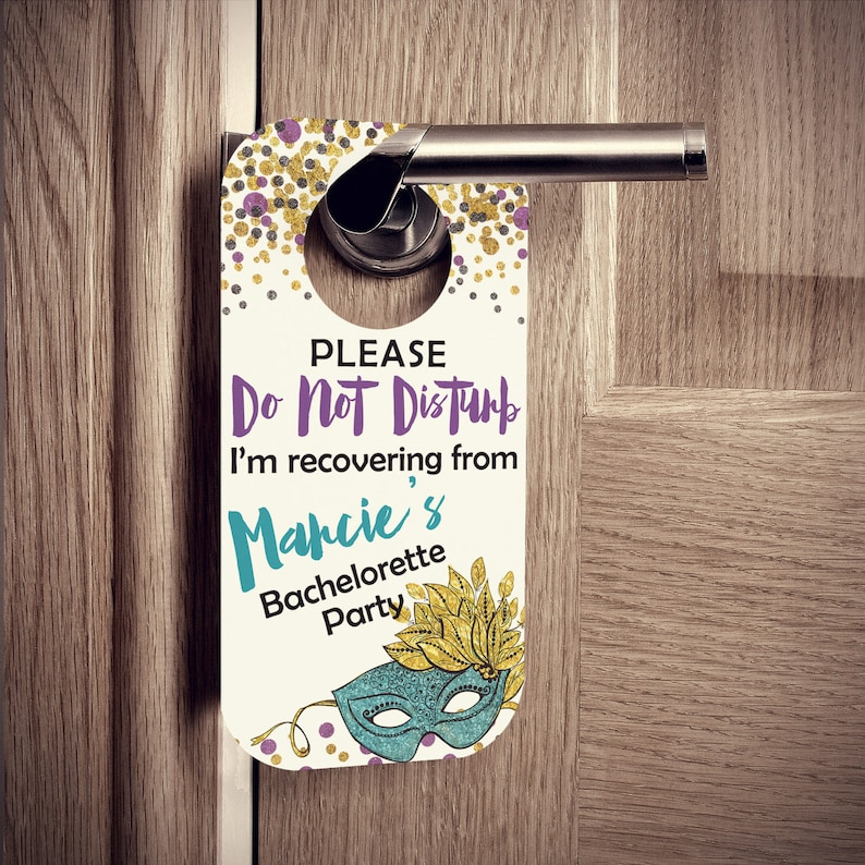 FREE U.S Shipping Set of 10 Custom Door Tags Door Hangers with Masquerade Mask and Glitter Confetti Bachelorette or Birthday Parties