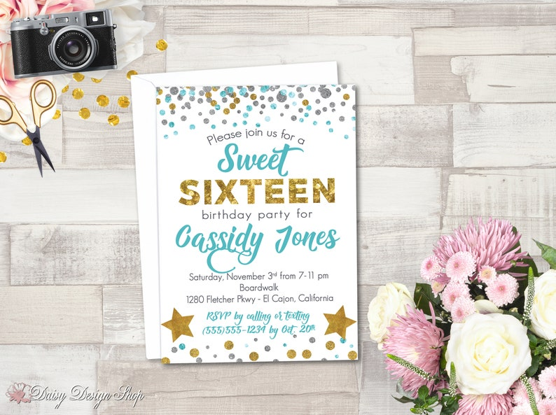 Printed OR Digital with FREE U.S Sweet 16 Glitter Confetti and Stars Shipping 10 Birthday Party Invitations