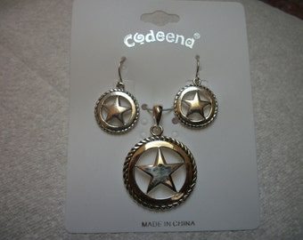 Silver western star pendant and earring set