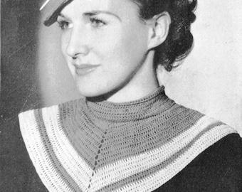 1930s Beret and Collar Set Vintage Crochet Pattern PDF