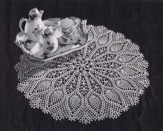 Pdf Large Pineapple Doily Vintage Crochet Pattern C 1953 Etsy
