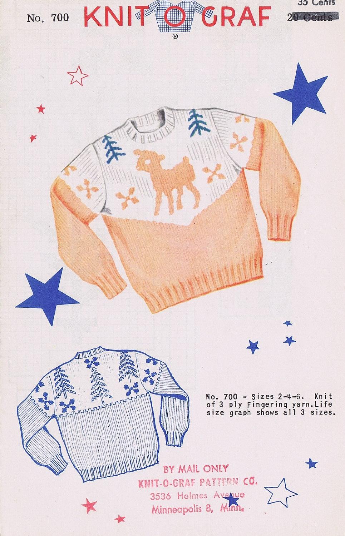 Knit-O-Graf Child\'s Sweater Knitting Pattern | Etsy